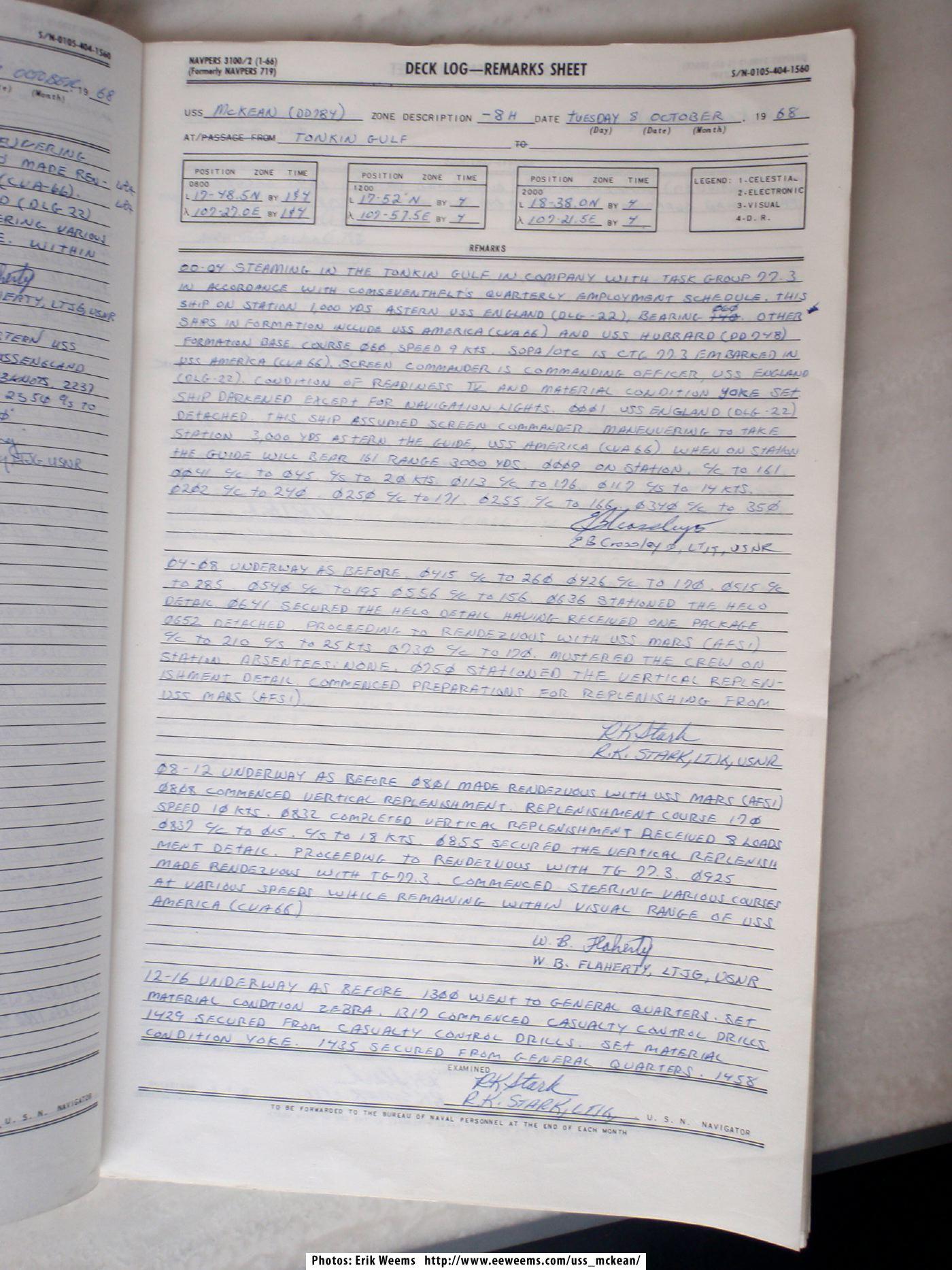 Mckean Dd784 Deck Logs 1968 371 Jpg Uss Mckean Deck Logs 1968